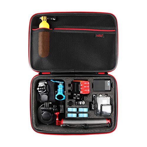 Large Carrying Case for GoPro Hero 9, (2018), Hero 8, 7 Black,HERO6,5,4,+LCD, Black, Silver, 3+, 3, 2 and Accessories by HSU with Fully Customizable...