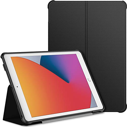 JETech Case for iPad 8/7 (10.2-Inch, 2020/2019 Model, 8th/7th Generation), Double-fold Stand with Shockproof TPU Back Cover, Auto Wake/Sleep, Black