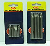 CIC 8 Pieces Chromium Steel Impact Driver Bits Set (Grey, Large and Small) - Pack of 2 Sets