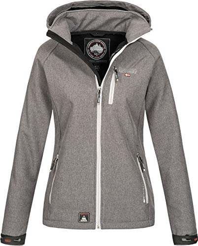 Geographical Norway Damen Funktions Softshelljacke Tassima abnehmbare Kapuze Light Grey L