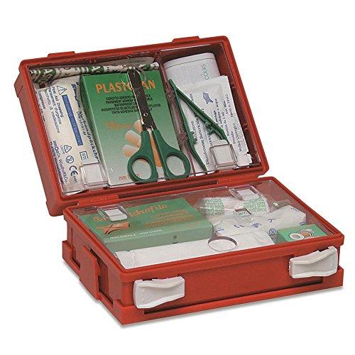 Maletín de primeros auxilios completo para heridas pequeñas de ABS con cierre con dos clips giratorios, color naranja