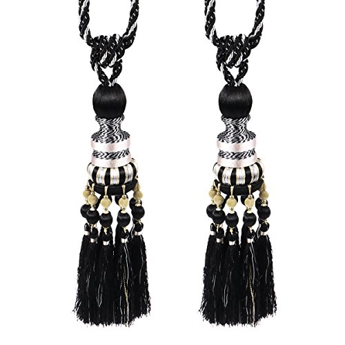 WINOMO 1 Pair of Beaded Tassels Curtain Tieback Holdback Holders Buckle for Home Drape Decoration (Black)