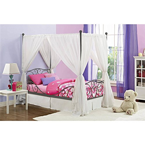 "Canopy Twin Metal Bed Girls Frame Princess Bedroom Furniture White Carriage Size Pink Kids Girl Heart scroll design, Multiple Colors with Heart scroll design and Dimensions: 77.5""L x 41.5""W x 71.5""H"