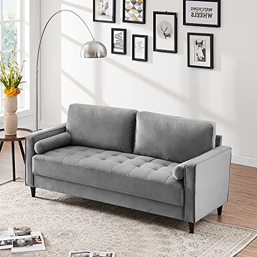 """HIFORT 77"""" Velvet Sofa Couch 3-Seat Upholstered Lounge Settee Large Loveseat in Misty Gray with 2 Cylindrical Pillows for Apartment, Dorm, Office"""