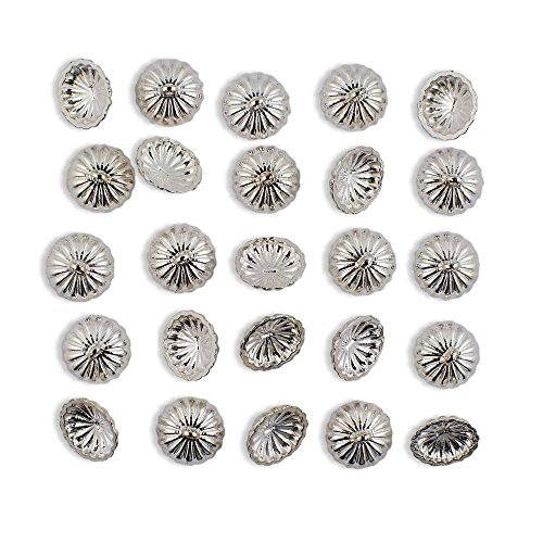 24 Silver Tone Ornament Caps - Egg Top Findings