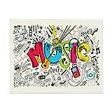 Music Art Doodle Rock Sound Manta suave para sofá cama ligera para todas las estaciones de 106 x 150 cm