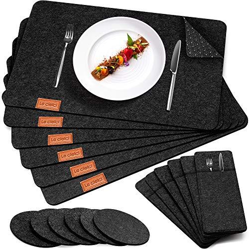 Le cielci® 18er Set Platzset aus Filz | rutschfest Abwaschbar Tischsets | Umweltfreundliche Wiederverwendbare Platzdeckchen | 6 Platzsets, 6 Glasuntersetzer, 6 Bestecktaschen | Tischset Anthrazit