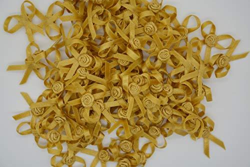 100 piezas de mini borde metálico de satén con lazo, flores rosas para manualidades, cinta de lazo, para costura, álbumes de recortes, boda, fiesta, decoración de regalo de 4 mm (oro oscuro)