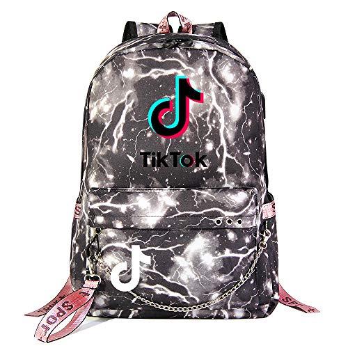 Children's School Backpack Outdoor Oxford Cloth Backpack Camping Backpack USB Charging Port 45cm*30cm*15cm Gray Lightning