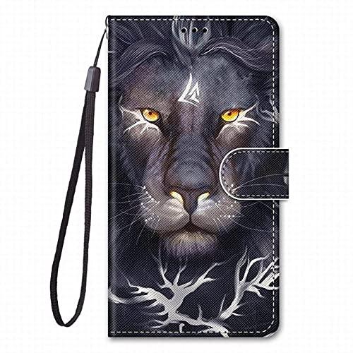 WQDWF para Redmi 7 7A para Redmi 6 Pro 6A Funda de Cuero con Tapa para Libro Funda para teléfono Lindo Tigre Lobo León Gato Perro, Cabeza de león Rizado, para Samsung Note7