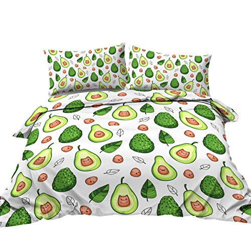 BlessLiving Cute kawaii Avocado Duvet Cover 3 Piece Green Fruit Bedding Set Trendy Bedroom Comforter Quikt Cases (Single)