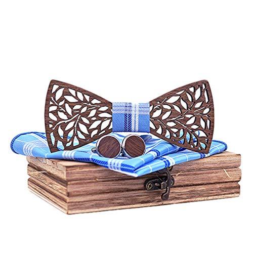 Lvguang Pajaritas de Madera Maciza para Hombre Elegante Diseño de Talla Hueca Unica Accesorios (Style#1)