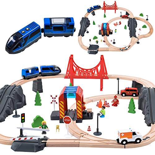 70PCS Wooden Train Set with Battery Locomotive Train Fits Thomas, Brio, Chuggington, Melissa Wooden Train Tracks, Expandable Train Toys for 3+ Years Old Girls & Boys