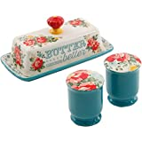 The Pioneer Woman Vintage Floral Salt and Pepper and Butter Dish Set