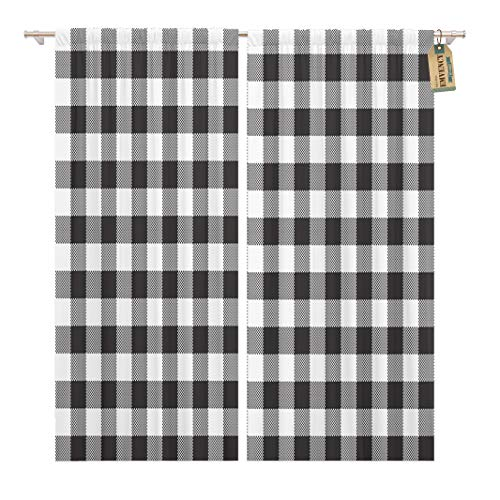 Golee Window Curtain Pattern Black White Checkerboard Check Chess Abstract Celtic Checked Home Decor Pocket Drapes 2 Panels Curtain 104 x 63 inches