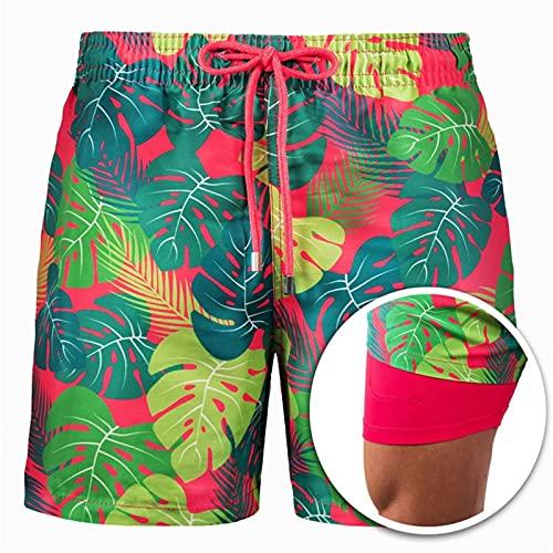 HOUHU Troncos De BañO para Hombres, Shorts De BañO con Forro De CompresióN, Shorts De Playa 2 En 1 De Secado RáPido con Bolsillos, Shorts Dobles Estampados L A12