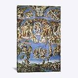 QAZEDC Leinwand Gemälde Modulare Print Poster Wandkunst Leinwand Michelangelo Das Jüngste Gericht Wandmalerei WohnkulturWohnzimmer Bilder 1 Stück 60x80cm