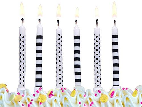 SiDeSo® Kerzenset Kerzen mit Haltern Geburtstag Geburtstagkerze Kuchendeko (6 Kerzen schwarz weiß)