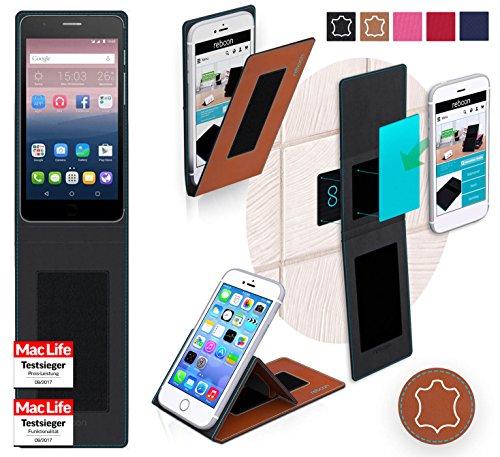 reboon Hülle für Alcatel OneTouch Pop Up Tasche Cover Case Bumper   Braun Leder   Testsieger