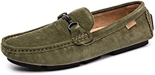 LFSP Mens Penny Loafers Boat Shoes Casual Driving Penny Loafers for Men Slip on Boat Moccasins Suede Leather Antislip Stitching Vamp Decor with Chain A (Color : Green, Size : 7 UK)