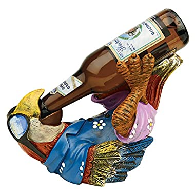 Design Toscano Beer Buddy Tropical Tiki Parrot Bottle Holder Statue, 10 Inch, Polyresin, Full Color