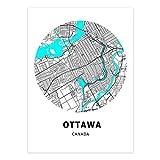 Leinwand Bild,Kanada Ottawa Stadtplan Schwarz Weiß