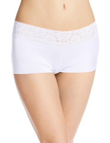 Maidenform Women's Dream Cotton with Lace Boyshort, White, 8