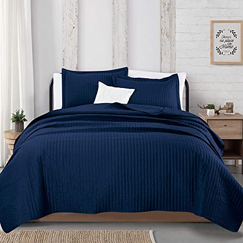 2-Piece Detailed Channel Stitch Quilt Set with Shams. Navy Twin Quilt Set, All...