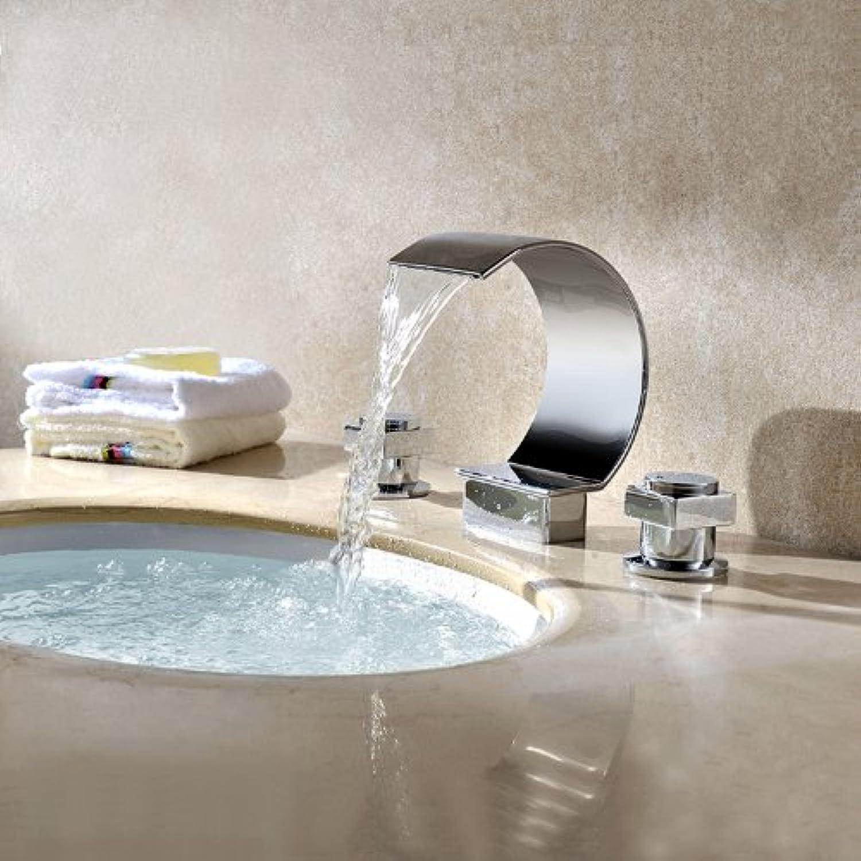 Bathroom Sink Taps Modern Chrome Handles 3-Hole Waterfall