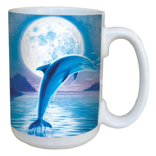 Dolphin Moon Coffee Mug - Large 15-Ounce Ceramic Cup, Full-Size Handle - Gift for Animal Lovers - Tree-Free Greetings 79086