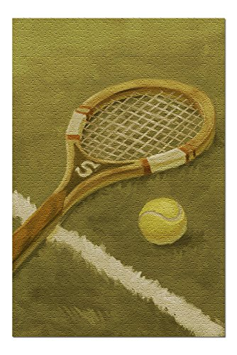 Tennis Racket - Oil Painting 76174 (19x27 Premium 1000 Piece Jigsaw Puzzle for Adults, Made in USA!)