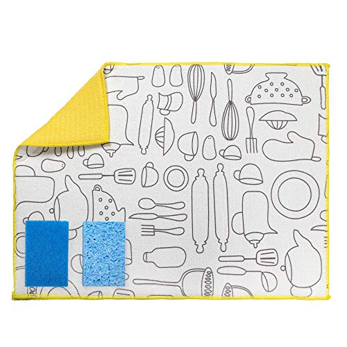 Microfiber Dish Drying Mats 3-Piece - Large Kitchen Dish Rack Mat with Sponges 19.5-Inchx15-Inch Yellow by AIDEA