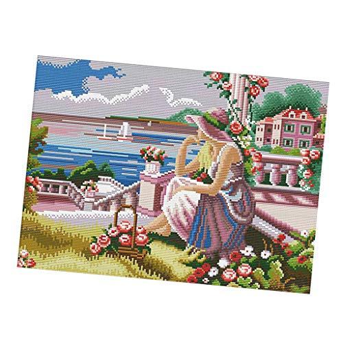 perfeclan Kits Estampados en Punto de Cruz Patrones de Flores Y Niñas Kits de Bordado con Punta de