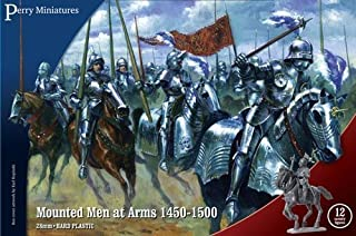 Perry Miniatures WR40 Mounted Men At Arms 1450-1500 28mm 1:56 12 cavalry figures 8 flags by Perry Miniatures
