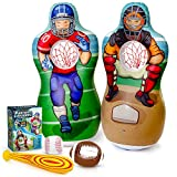 Super Pumped! Inflatable Double-Sided Baseball & Football Target Set | Blow Up Toy with Soft Football, Baseball & Inflatable Bat | Fun Toss Games for Indoor, Outdoor, Backyard & Party Favor | 5 Feet