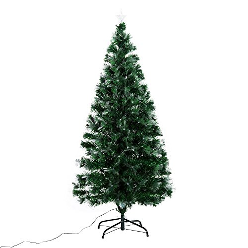 HOMCOM Albero di Natale Artificiale 150cm in PVC Fibre Ottiche Foltissimo con 180 Luci a LED Φ74 Verde