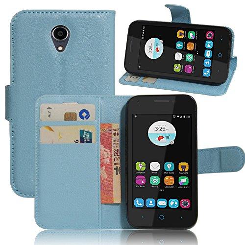 Tasche für ZTE Blade L110 Hülle, Ycloud PU Ledertasche Flip Cover Wallet Case Handyhülle mit Stand Function Credit Card Slots Bookstyle Purse Design blau