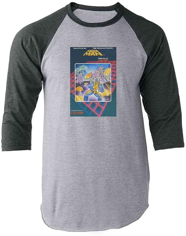 Mega Man Original Box Art Retro Gamer Video Game Gray 2XL Raglan Baseball Tee Shirt