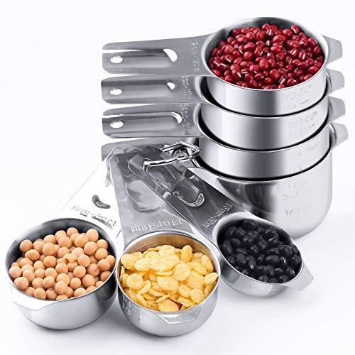 Measuring Cups: U-Taste 18/8 Stainless Steel Measuring Cups Set of 7-Piece: ⅛ Cup, ¼ Cup, ⅓ Cup, ½ Cup, ⅔ Cup, ¾ Cup, 1 Cup Dry and Liquid Ingredients