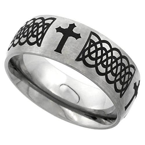 Sabrina Silver 8mm Titanium Wedding Band Celtic Knot Ring Domed with Crosses Brushed Finish Comfort Fit Size 12