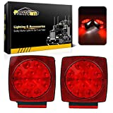 Partsam 12V Waterproof Square Led Trailer Light,Red LED Stop Turn Tail License Brake Running Light Lamp for Trailers Under 80' Boat Trailer Truck Marine Camper RV Snowmobile,IP68,DOT Compliant