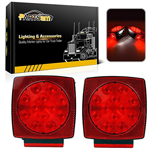 "Partsam 12V Waterproof Square Led Trailer Light,Red LED Stop Turn Tail License Brake Running Light Lamp for Trailers Under 80"" Boat Trailer Truck Marine Camper RV Snowmobile,IP68,DOT Compliant"