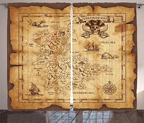 chinawh 3D Vorhang Karte Pirat Abenteuer Nautisch 150X166Cm Polyester Blickdicht Gardine Thermische Schalldämmung Modern Einfach Geeignet Für Schlafzimmer Wohnzimmer 2 Stück