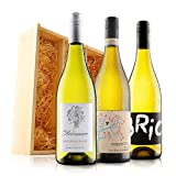 White Wine Trio in Wooden Gift Box - 3 Bottles (