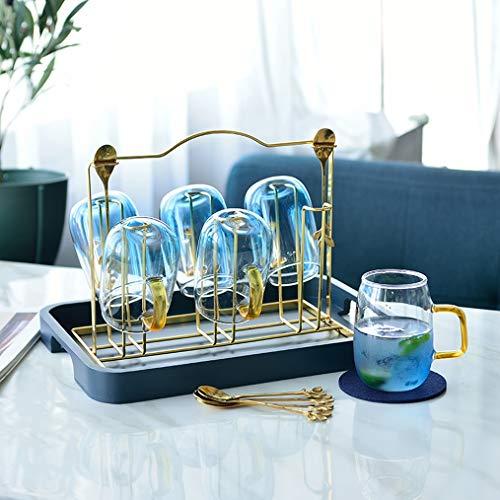 HXPP Getränkebehälter Spender Kettle Glas Hochtemperaturbeständige Kessel Haushaltsglaskessel Cold Water Cup Set Kaltwasserkocher (Color : B)