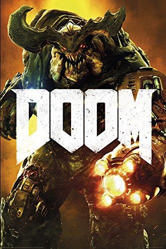 empireposter Doom - Cyber Demon - Videospiel Game Poster Plakat Druck - Größe 61x91,5 cm + 2 St Posterleisten Kunststoff 62 cm schwarz