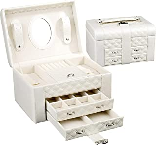 Jewelry Organizer Box, Two Drawers Girls Varies Jewelry Storage/Display Mirrored Travel Case,Storage Case with Lock and Mirror, White (Color : Beige)