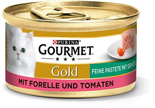 PURINA GOURMET Gold Feine Pastete mit Gemüse Katzenfutter nass, mit Forelle und Tomaten, 12er Pack (12 x 85g)