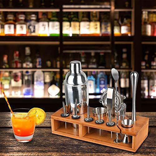 Hossejoy Hochwertiges Cocktailshaker Set,14 Teilig, mit Bambus-Aufbewahrung, inkl. Cocktail-Shaker, Doppeljigger, Messbecher, Bar Stößel, Bar Löffel, Ausgießer, Eiszange, Öffner, Hawthowe Strainer - 4