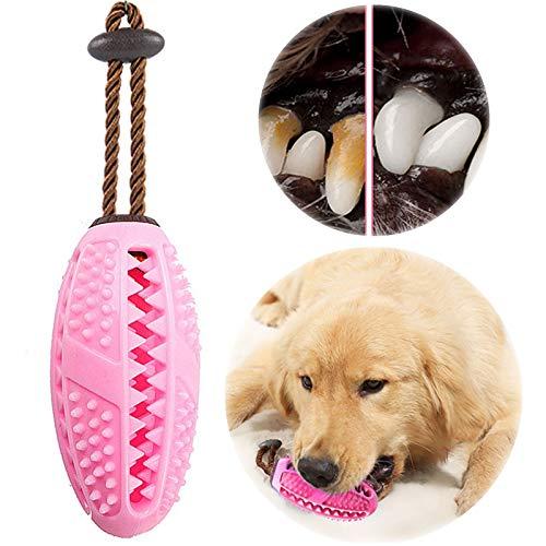 onebarleycorn – Hund Zahnbürsten Stick, Hundespielzeug Ball Hundeball mit Zahnpflege Naturkautschuck Spielzeug Zahnreinigungsspielzeug für Hunde (Rosa)